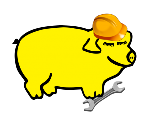 Yellow pig with hard-hat and wrench